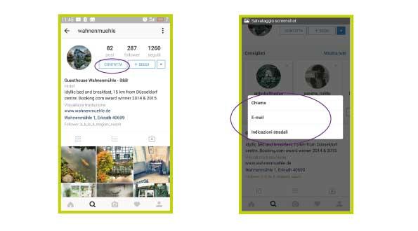 come passare account instagram business hotel