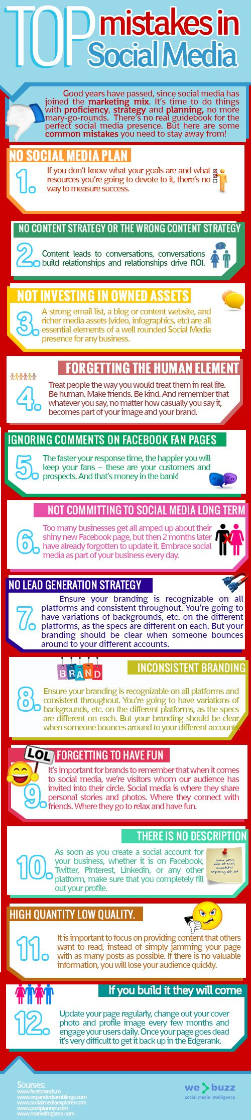 errori da evitare sui social media